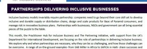Blog series on partnerships for Inclusive Business