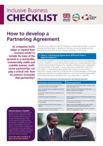 Partnering Agreement checklist for IB front page