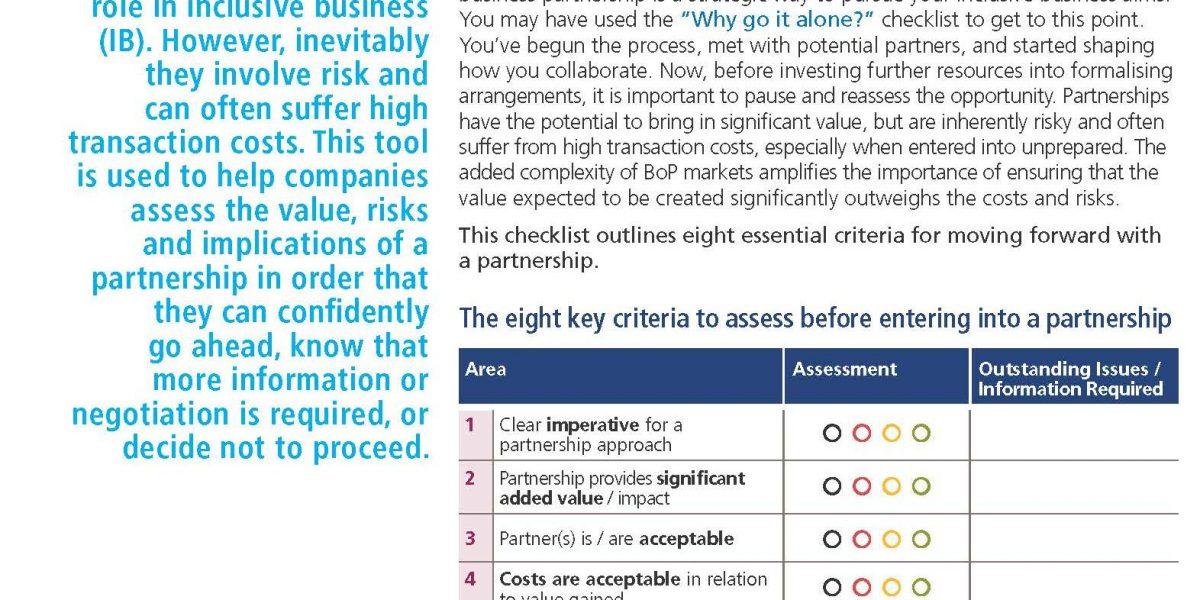 New TPI checklist: the 'go/no-go' decision for an inclusive business partnership
