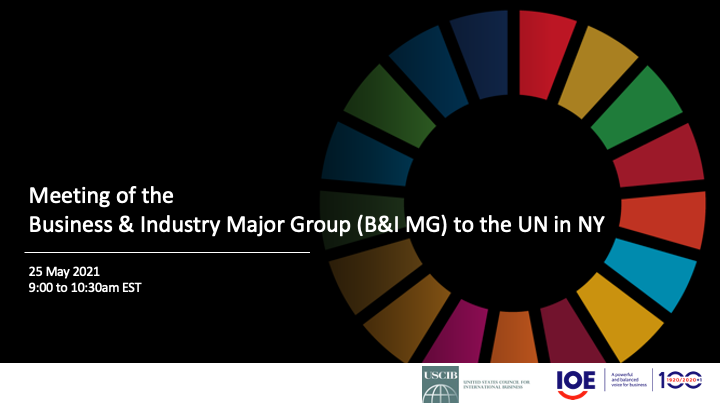 Maximising business engagement in the SDGs with the Business and Industry Major Group